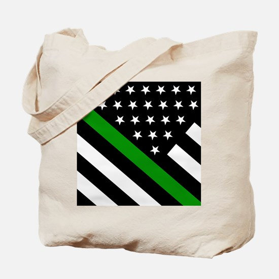 U.S. Flag: Thin Green Line Tote Bag