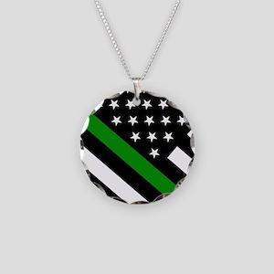 U.S. Flag: Thin Green Line Necklace Circle Charm