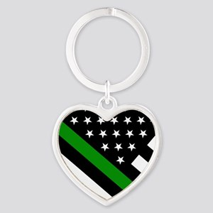 U.S. Flag: Thin Green Line Heart Keychain