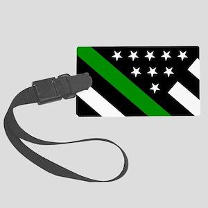 U.S. Flag: Thin Green Line Large Luggage Tag