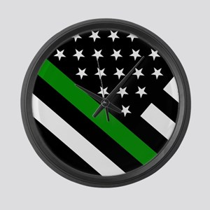 U.S. Flag: Thin Green Line Large Wall Clock