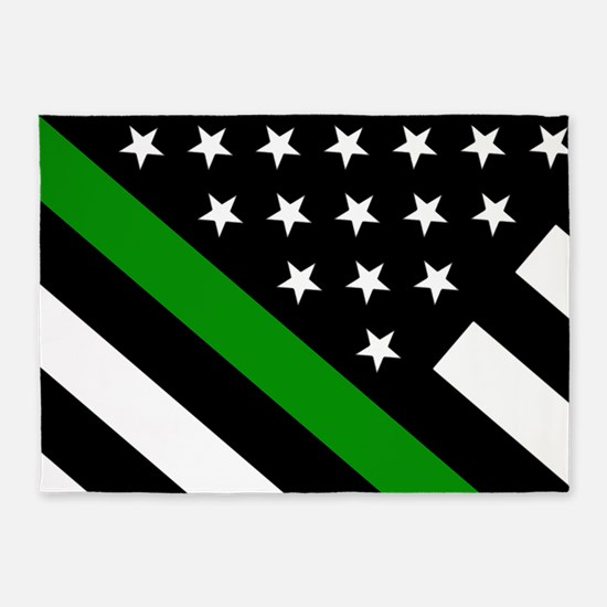U.S. Flag: Thin Green Line 5'x7'Area Rug