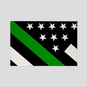 U.S. Flag: Thin Green Line Rectangle Magnet