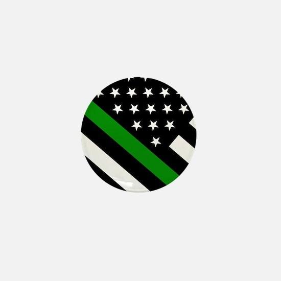 U.S. Flag: Thin Green Line Mini Button