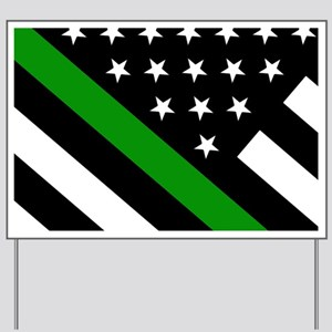 U.S. Flag: Thin Green Line Yard Sign