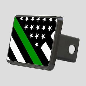 U.S. Flag: Thin Green Line Rectangular Hitch Cover