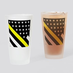 U.S. Flag: Thin Yellow Line Drinking Glass