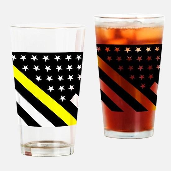 U.S. Flag: Thin Yellow Line Drinking Glass