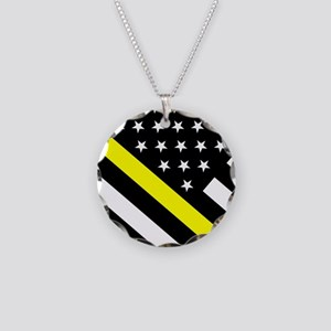 U.S. Flag: Thin Yellow Line Necklace Circle Charm