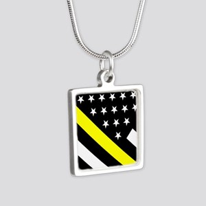 U.S. Flag: Thin Yellow Lin Silver Square Necklace