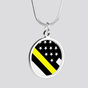U.S. Flag: Thin Yellow Line Silver Round Necklace