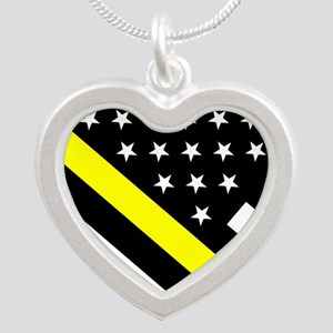 U.S. Flag: Thin Yellow Line Silver Heart Necklace