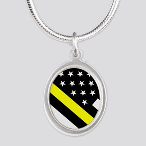 U.S. Flag: Thin Yellow Line Silver Oval Necklace