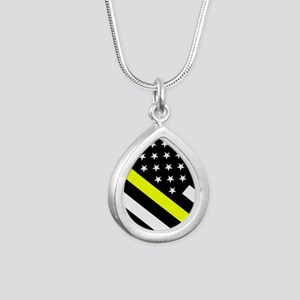 U.S. Flag: Thin Yellow L Silver Teardrop Necklace