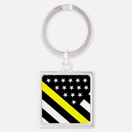U.S. Flag: Thin Yellow Line Square Keychain