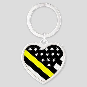 U.S. Flag: Thin Yellow Line Heart Keychain