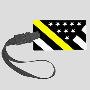 U.S. Flag: Thin Yellow Line Large Luggage Tag