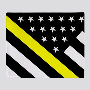 U.S. Flag: Thin Yellow Line Throw Blanket