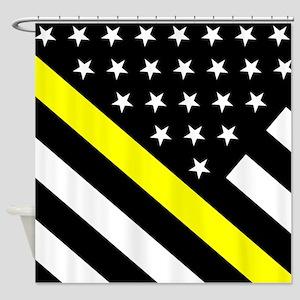 U.S. Flag: Thin Yellow Line Shower Curtain