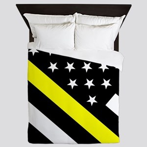 U.S. Flag: Thin Yellow Line Queen Duvet