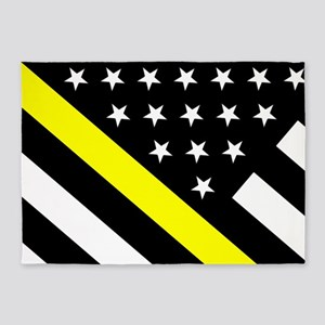 U.S. Flag: Thin Yellow Line 5'x7'Area Rug