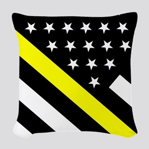 U.S. Flag: Thin Yellow Line Woven Throw Pillow