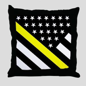 U.S. Flag: Thin Yellow Line Throw Pillow