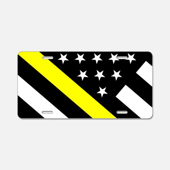 U.S. Flag: Thin Yellow Line Aluminum License Plate