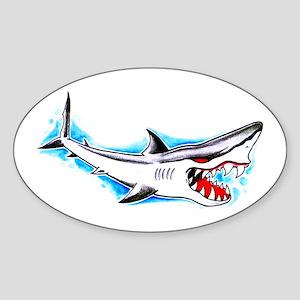 Shark Tattoo Art Oval Sticker