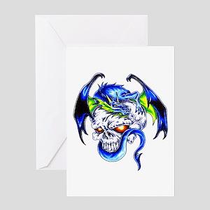 Dragon Skull Motorcycle Tattoo Greeting Card