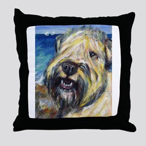 Laughing wheatie portrait Throw Pillow