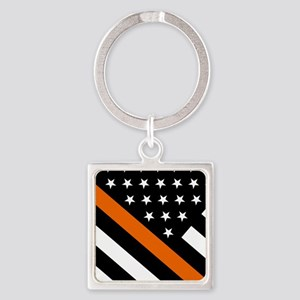 U.S. Flag: The Thin Orange Line Square Keychain