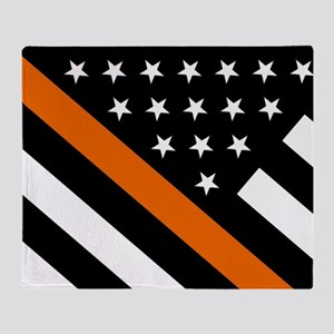 U.S. Flag: The Thin Orange Line Throw Blanket