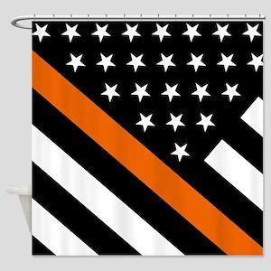 U.S. Flag: The Thin Orange Line Shower Curtain