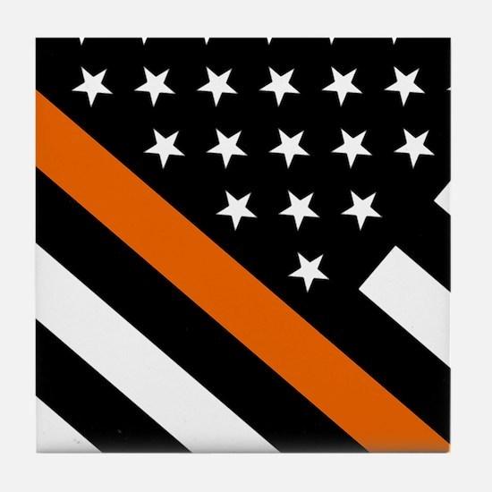 U.S. Flag: The Thin Orange Line Tile Coaster
