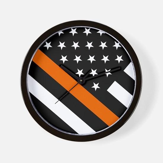 U.S. Flag: The Thin Orange Line Wall Clock