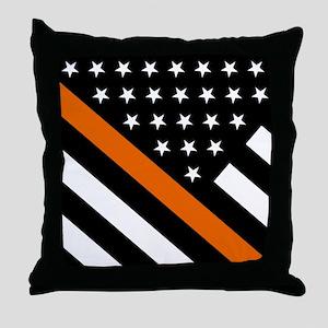 U.S. Flag: The Thin Orange Line Throw Pillow