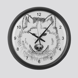 White Wolf Large Wall Clock