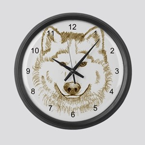 White Wolf 2 Large Wall Clock