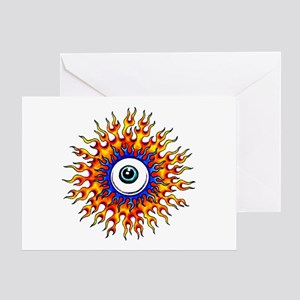 Fiery Flame Eyeball Tattoo Greeting Card