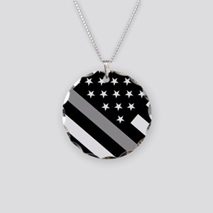 U.S. Flag: The Thin Grey Lin Necklace Circle Charm