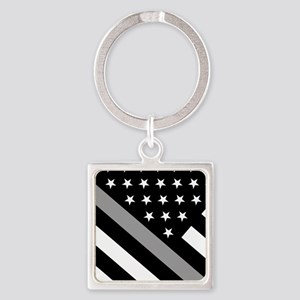 U.S. Flag: The Thin Grey Line Square Keychain