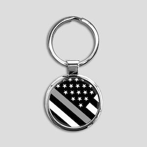U.S. Flag: The Thin Grey Line Round Keychain