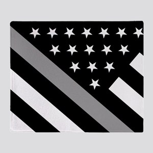U.S. Flag: The Thin Grey Line Throw Blanket