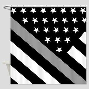 U.S. Flag: The Thin Grey Line Shower Curtain