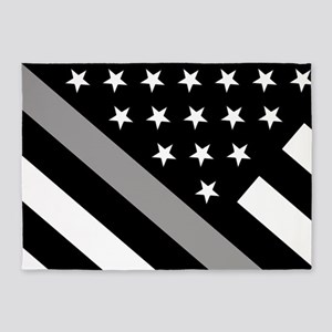 U.S. Flag: The Thin Grey Line 5'x7'Area Rug