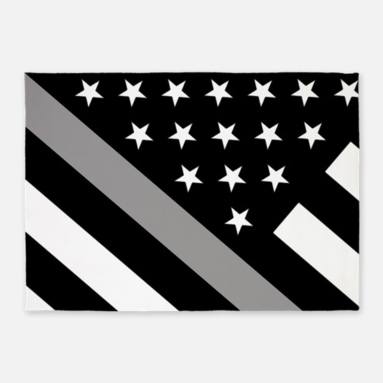 U.S. Flag: The Thin Grey Line 5'x7'Area Rug