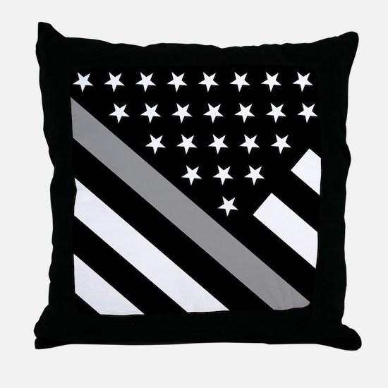 U.S. Flag: The Thin Grey Line Throw Pillow
