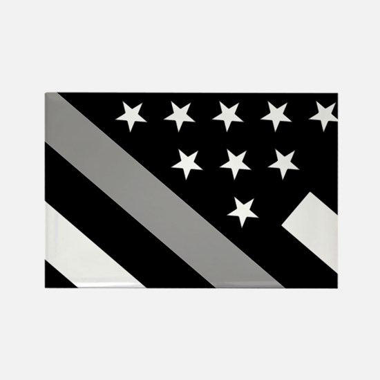 U.S. Flag: The Thin Grey Line Rectangle Magnet