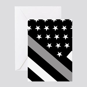 U.S. Flag: The Thin Grey Line Greeting Card